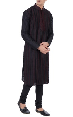 Manish Nagdeo - Men Black silk thread work kurta with churidar