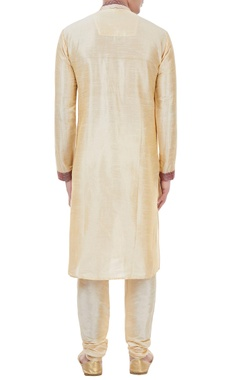 Gold silk thread work kurta with churidar