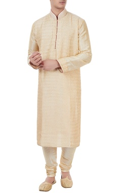 Manish Nagdeo - Men Gold silk thread work kurta with churidar