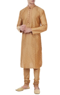 Manish Nagdeo - Men Fawn gold silk pin tuck kurta with churidar