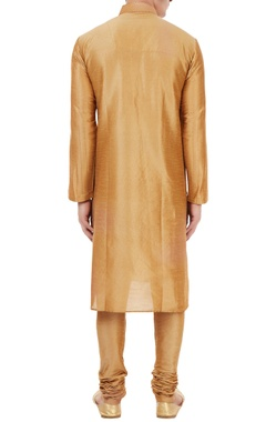 Fawn gold silk pin tuck kurta with churidar