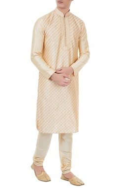 Manish Nagdeo - Men Gold silk chequered kurta with churidar