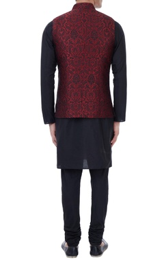 Black & maroon silk brocade bundi with kurta & churidar