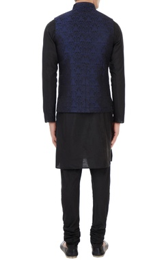 Black & navy blue silk brocade bundi with kurta & churidar