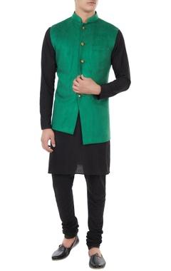 Forest green suede nehru jacket