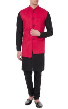 Red suede button down asymmetric nehru jacket