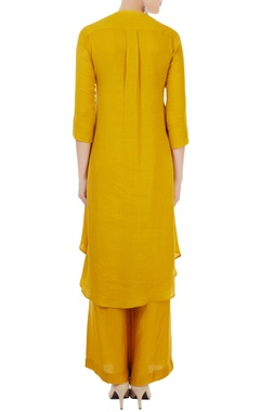 Mustard linen georgette hand & machine embroidered kurta with palazzos