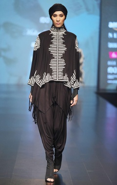Malini Ramani Black & offwhite cape blouse