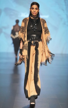 Malini Ramani Caramel brown & black fringe detail cape