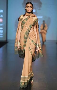 Malini Ramani Caramel & olive printed sari with blouse
