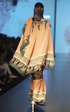 Caramel & olive printed sari with blouse