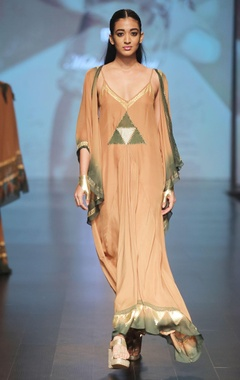 Malini Ramani Caramel brown & olive maxi dress