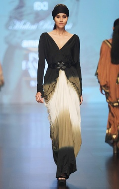 Malini Ramani Black, cream & olive green v-neck silk lycra saree gown