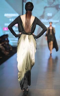 Black, cream & olive green v-neck silk lycra saree gown