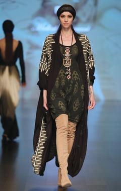 Malini Ramani Black & olive jersey shakti warrior ikat printed jumpsuit