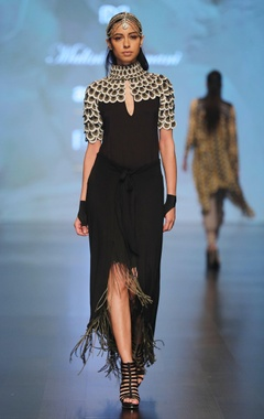 Malini Ramani Black applique work jersey blouse