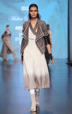 grey front open suede jacket
