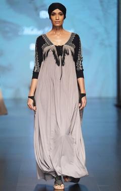 Malini Ramani Black & grey ombre cowl style kaftan