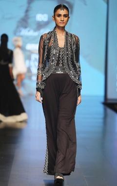 Malini Ramani Black embellished net cape