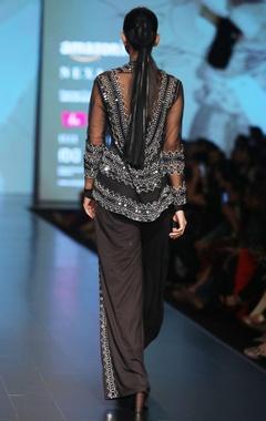 Black embellished net cape