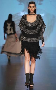 Malini Ramani Black mirror embellished jersey cape