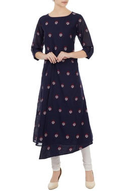 Sayantan Sarkar Navy blue cotton jamdani ladybug weave tunic