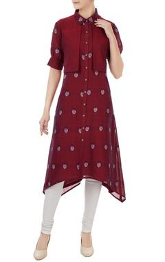 Sayantan Sarkar Maroon cotton jamdani ladybug weave tunic