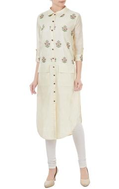 Sayantan Sarkar Off white silk jamdani floral weave tunic