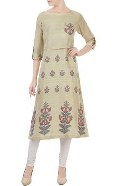 Sayantan Sarkar Olive silk jamdani floral weave tunic