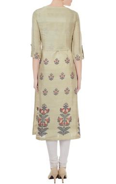 Olive silk jamdani floral weave tunic