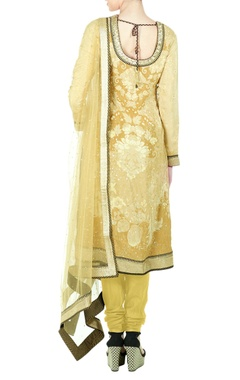 Beige silk dori & tiki embroidered kurta with churidar & dupatta