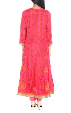 pink & orange silk taffeta embroidered kurta with churidar & dupatta
