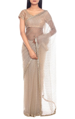 Ivory net gota embroidered sari with blouse