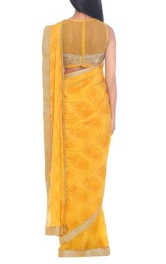 Yellow rayon & crepe block print sari with blouse