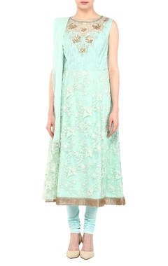 Aqua blue net hand & machine embroidered anarkali kurta with churidar & dupatta