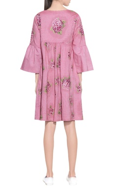 pink handloom cotton embroidered dress