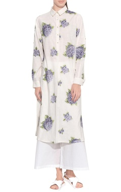 ecru handloom cotton embroidered tunic