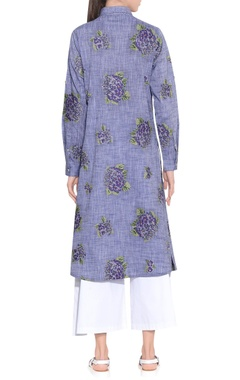 melange blue chambray cotton embroidered tunic