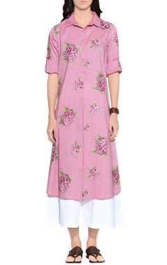 Pink chambray cotton embroidered dress