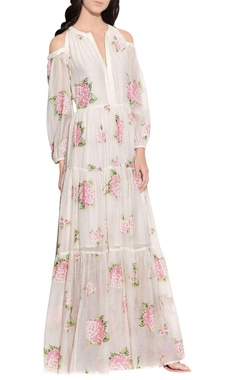 cream handloom cotton embroidered dress