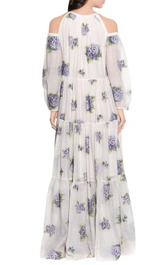ecru cotton silk embroidered dress