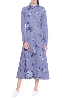 melange blue chambray cotton embroidered dress