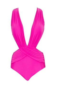 Pink polyamide & lycra cut-out monokini