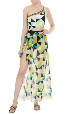 Yellow georgette graphic print sarong skirt