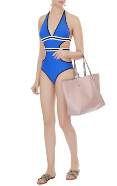 Kai Resortwear Blue polyamide & lycra color block monokini