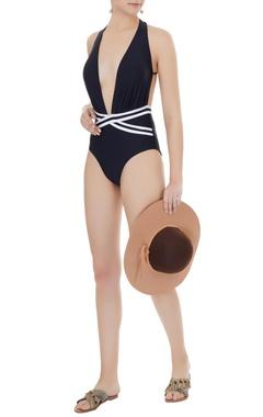 Kai Resortwear Black polyamide & lycra color block wrap plunge neck monokini