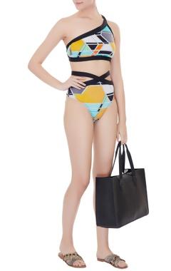 Kai Resortwear Multi Color polyamide & lycra graphic print cut-out monokini