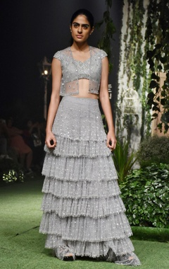 Grey tulle embroidered tiered skirt