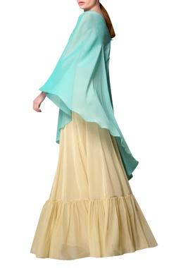 Aquamarine one shoulder blouse with flared skirt