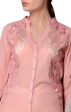 Blush pink soyabean fabric sharara set